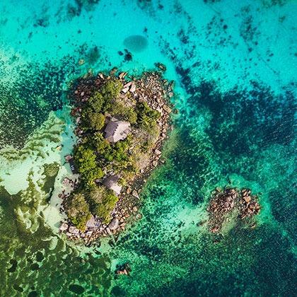Aerial of Praslin Island, Seychelles
