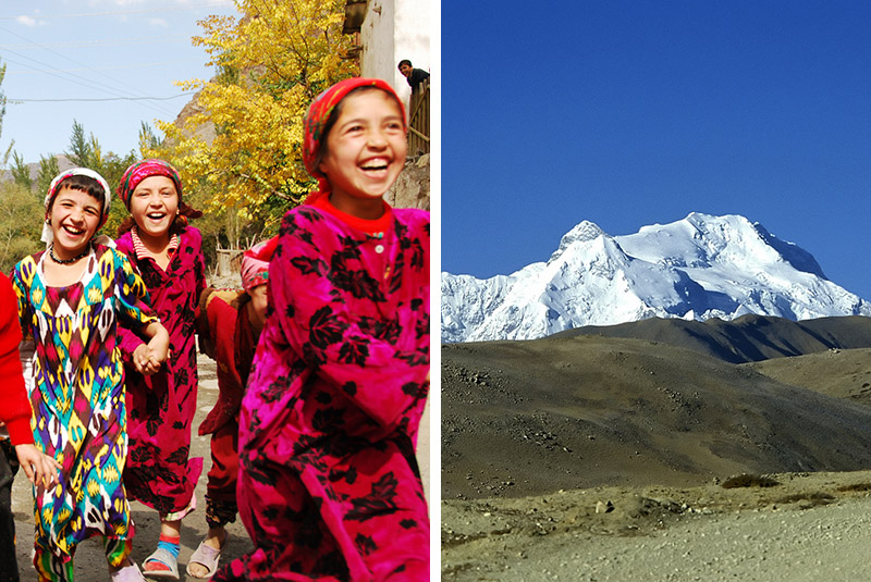 Smiling girls in Penjakent, Tajikistan and Mount Shishapangma in Tibet
