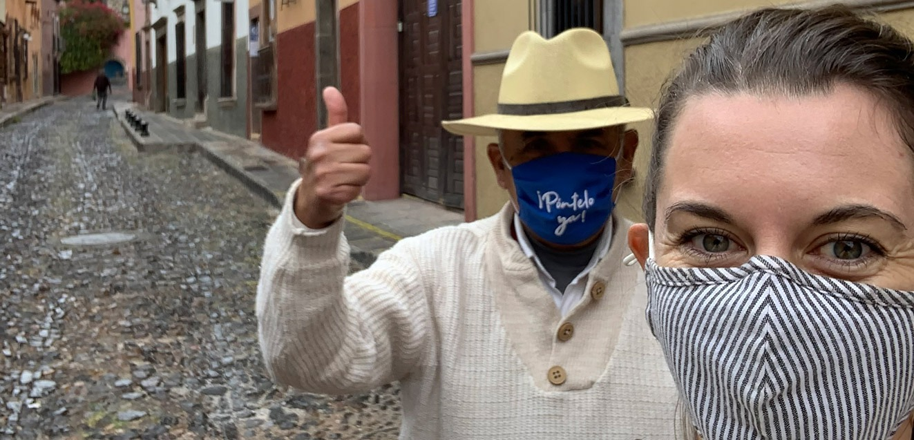 GeoEx trip designer Natalie Crow with her guide in San Miguel de Allende, Mexico
