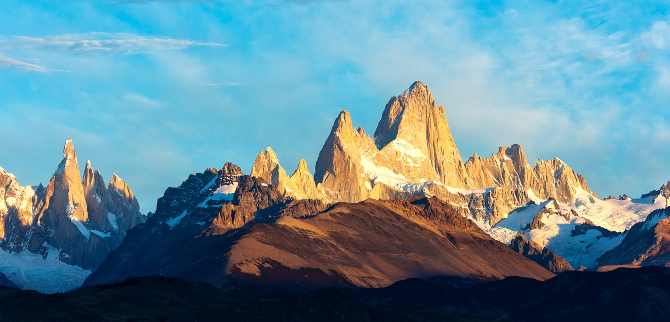 Spires of the Fitz Roy massif in Los Glaciares National Park, Argentina
