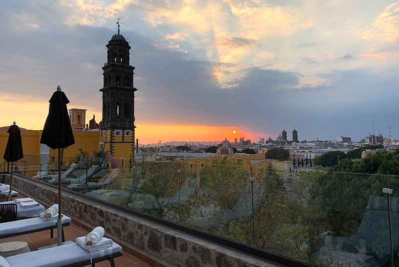 View of the city of Puebla from the Azul Talavera rooftop, Mexico
