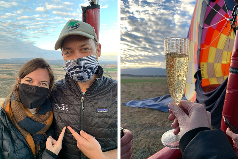 Two GeoEx trip designers on a hot air balloon ride in San Miguel de Allende, Mexico