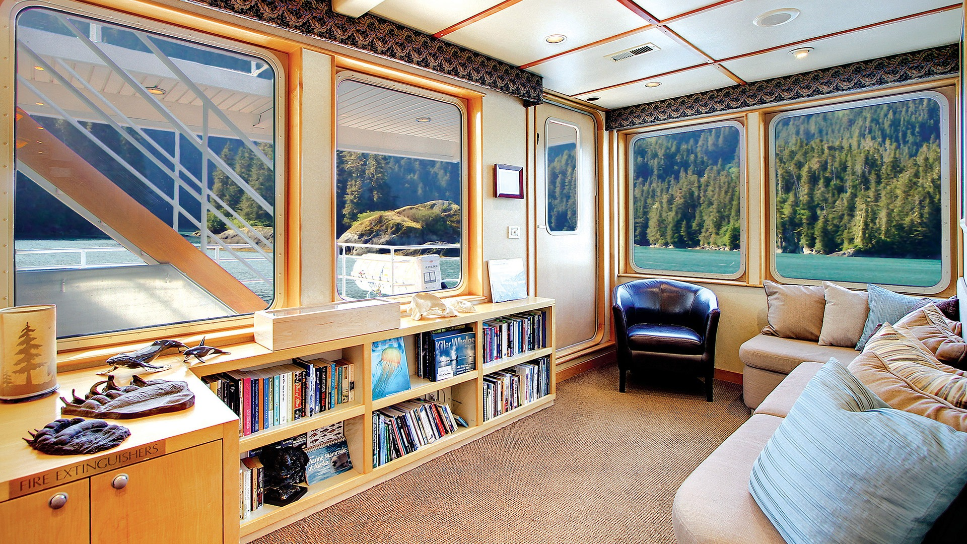 The library aboard the Uncruise Safari Quest vessel