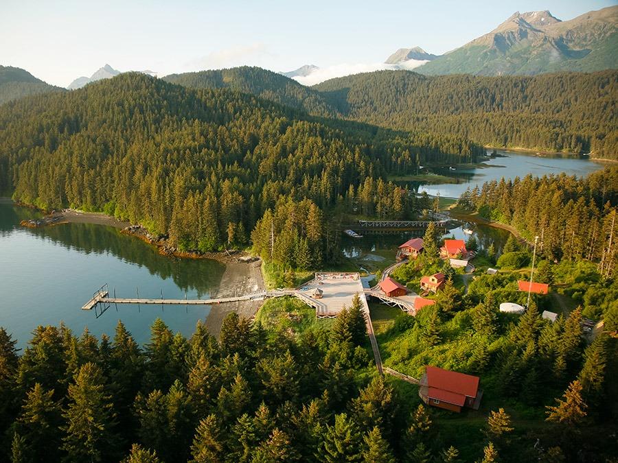 An aerial view of Tutka Bay Lodge, Alaska