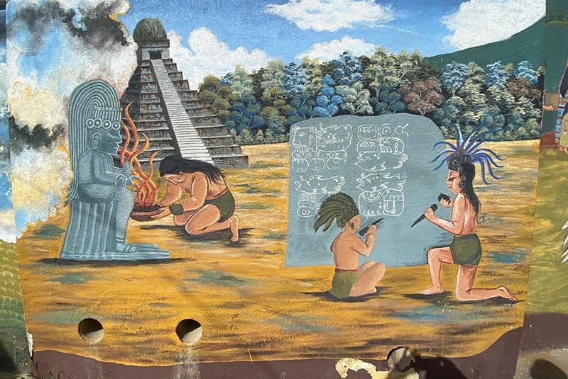 Mural depicting the Mayan period in Comalapa, Guatemala