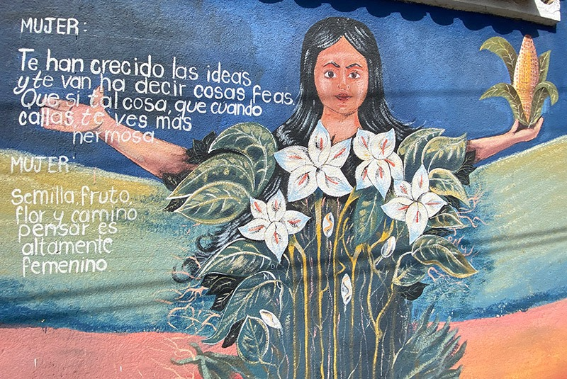 Mural with a local poem in Comalapa, Guatemala