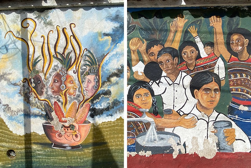 Intricate mural scenes in Comalapa, Guatemala