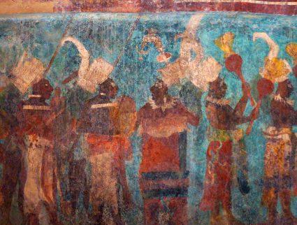 Vivid murals in Structure 1 of Bonampak, Mexico