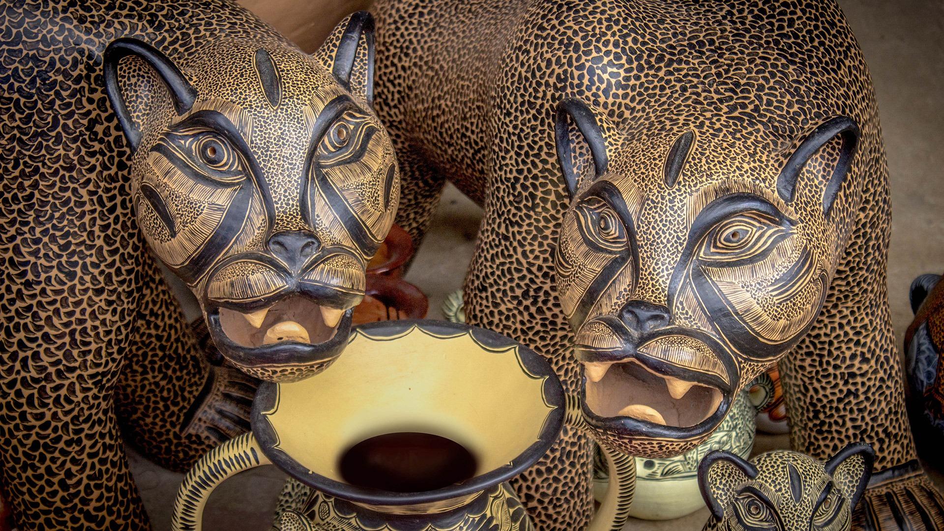 Painted jaguar ceramics in Amatenango del Valle, Mexico