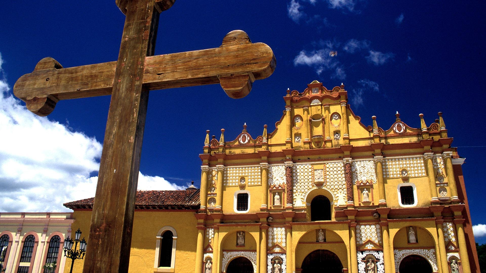 Cross and cathedral in San Cristobal de las Casas, Mexico