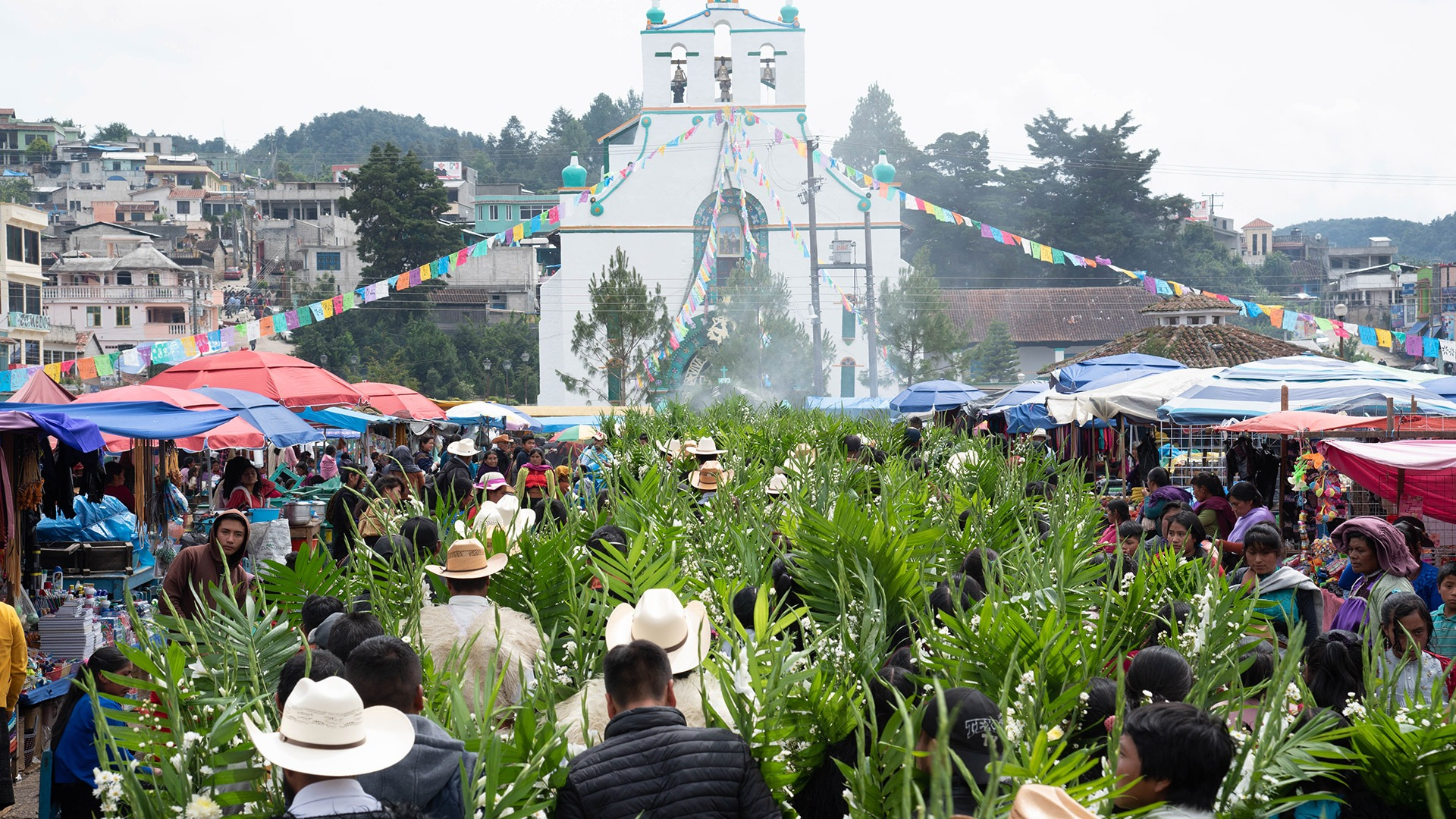 Market in front of the church in San Juan Chamula, Chiapas, Mexico