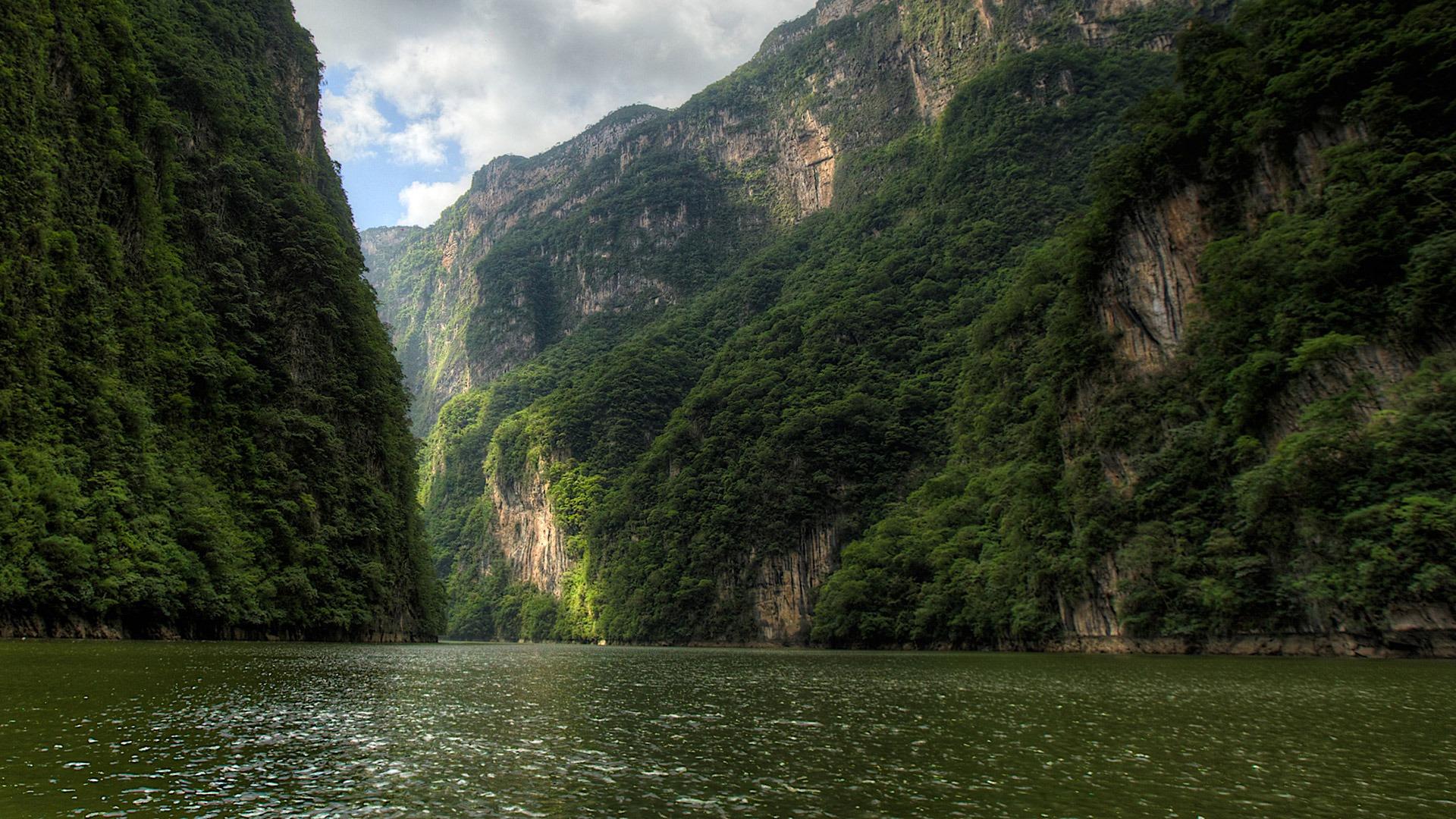 Lush hillsides of Sumidero Canyon in Chiapas, Mexico