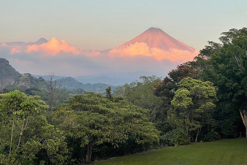 View of Volcan de Colima from Hacienda de San Antionio, Comala, Mexico