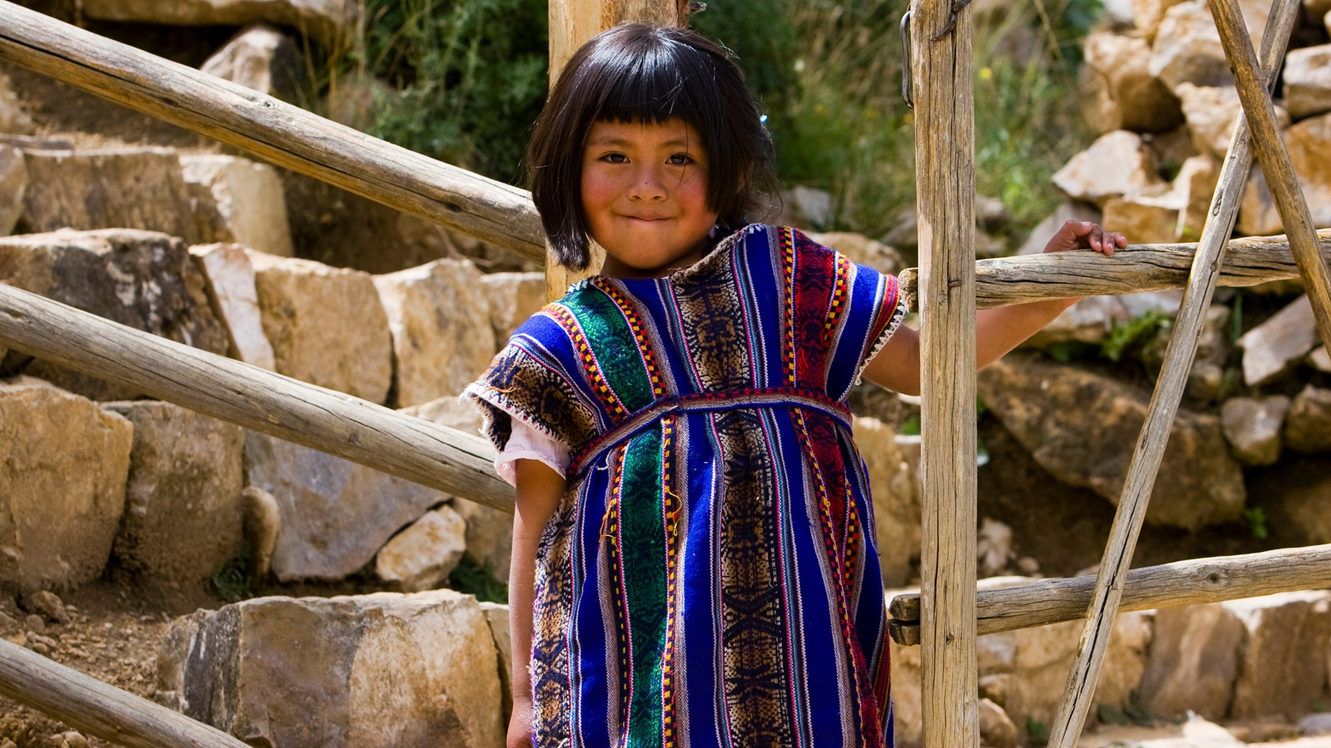 An Aymara girl on Isla del Sol in Lake Titicaca, Bolivia
