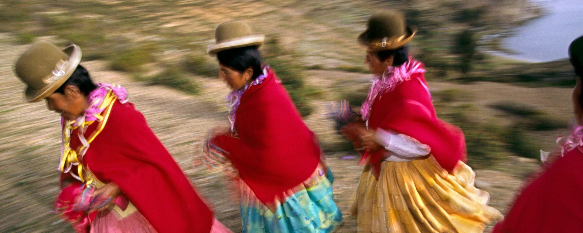 Woman in traditional dress on Isla del Sol, Bolivia