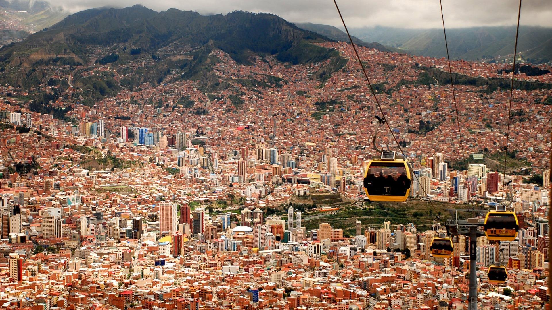 Teleferico cable car system above the city of La Paz, Bolivia