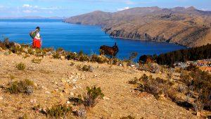 Woman on Isla del Sol in Lake Titicaca, Bolivia
