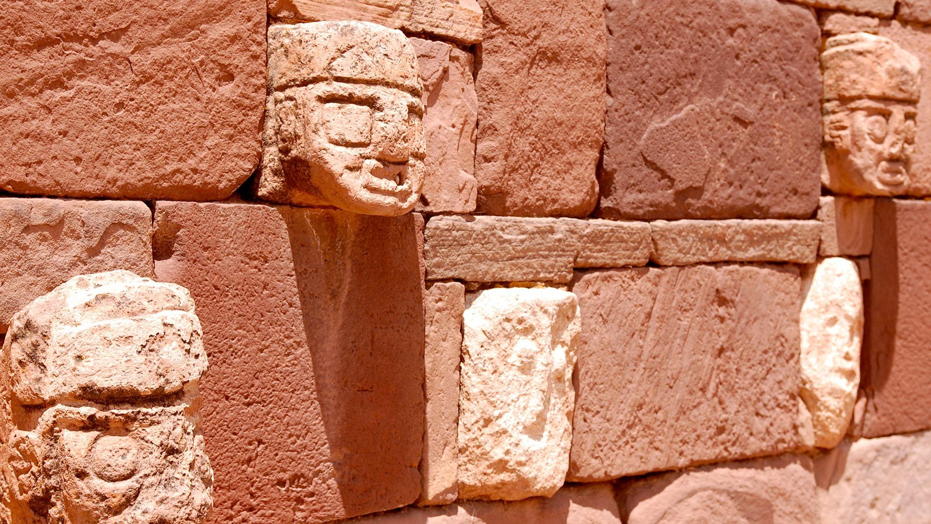 Stone carvings at the ruins of Tiwanaku, Bolivia