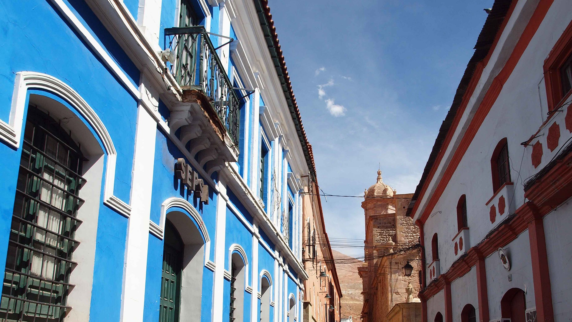 Colonial architecture in the former mining town of Potosi, Bolivia