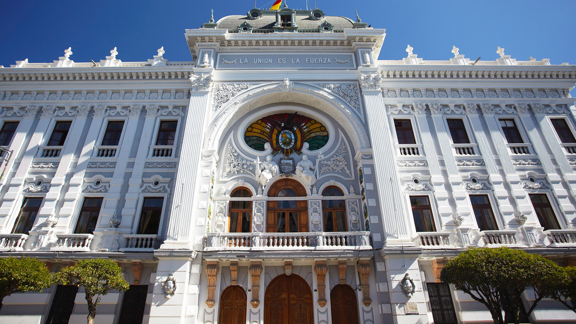 Whitewashed National Government building in Sucre, Bolivia