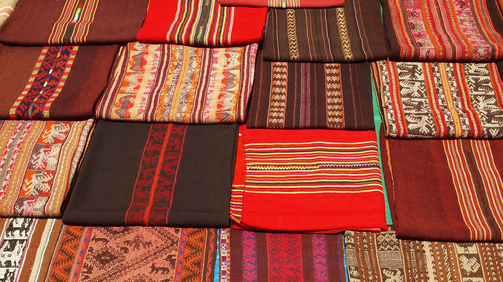 Textiles at the Tarabuco Fair near Sucre, Bolivia
