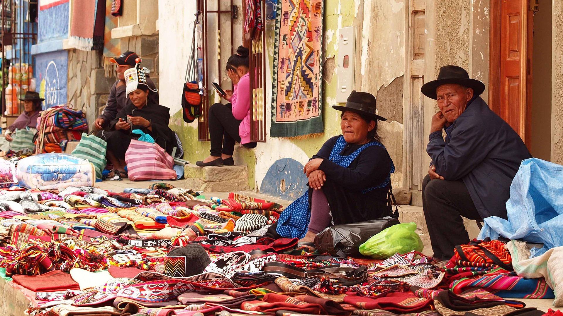 Vendors at the Tarabuco Fair near Sucre, Bolivia