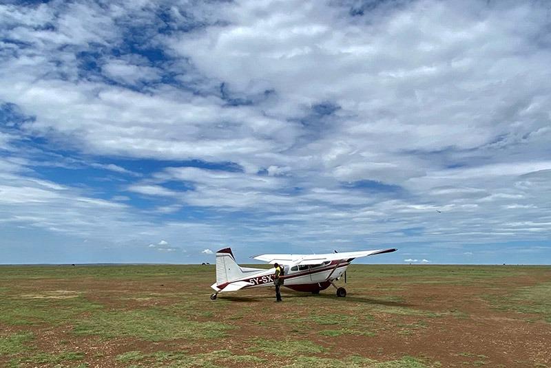 A light aircraft in the Masai Mara, Kenya