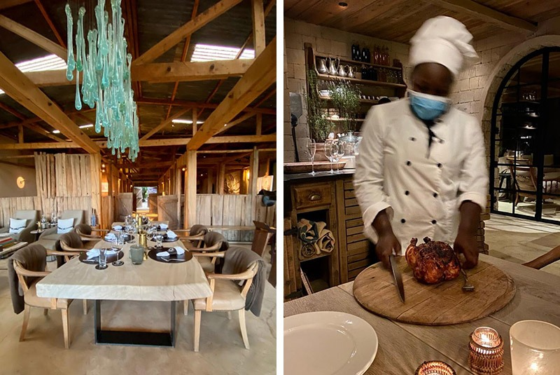 Lodge dining room and chef in Kenya