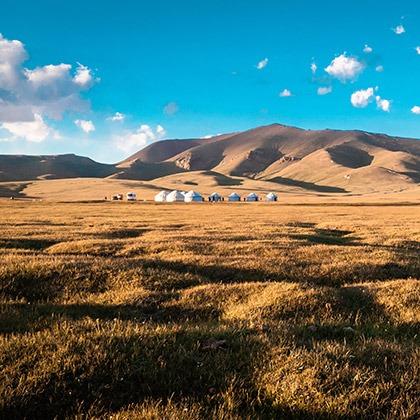 Yurts in the fields of Naryn region, Kyrgyzstan