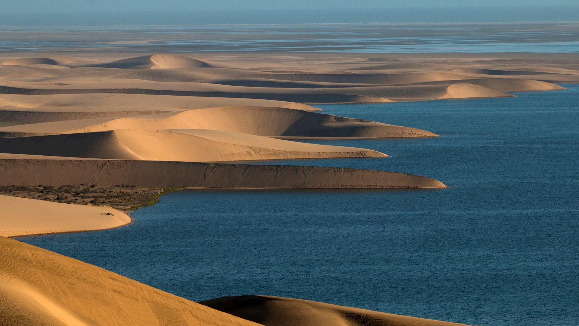 Aerial of dunes meeting the sea on the Skeleton Coast, Namibia