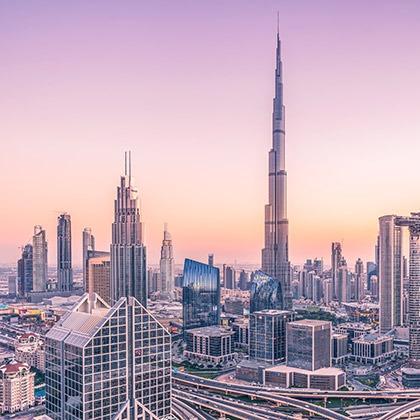 The Burj al Arab and the skyline in Dubai, UAE