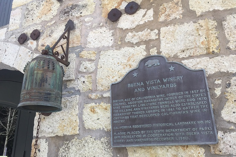 Plaque and bell at the Buena Vista Winery and Vineyards in Sonoma, California