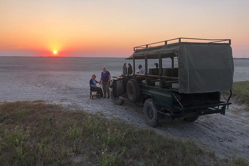 A sundowner from Qorokwe Camp in the Okavango, Botswana
