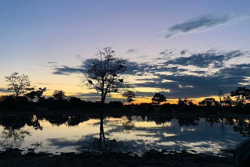 The Okavango Delta near Vumbura Plains at sunset, Botswana
