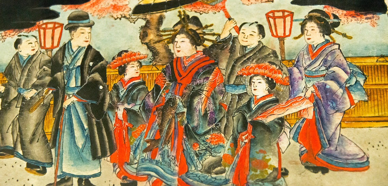 Painting on wood block depicting life in the old day, Shirahama, Japan