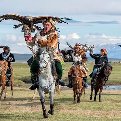 Kazakh eagle hunters in Mongolia