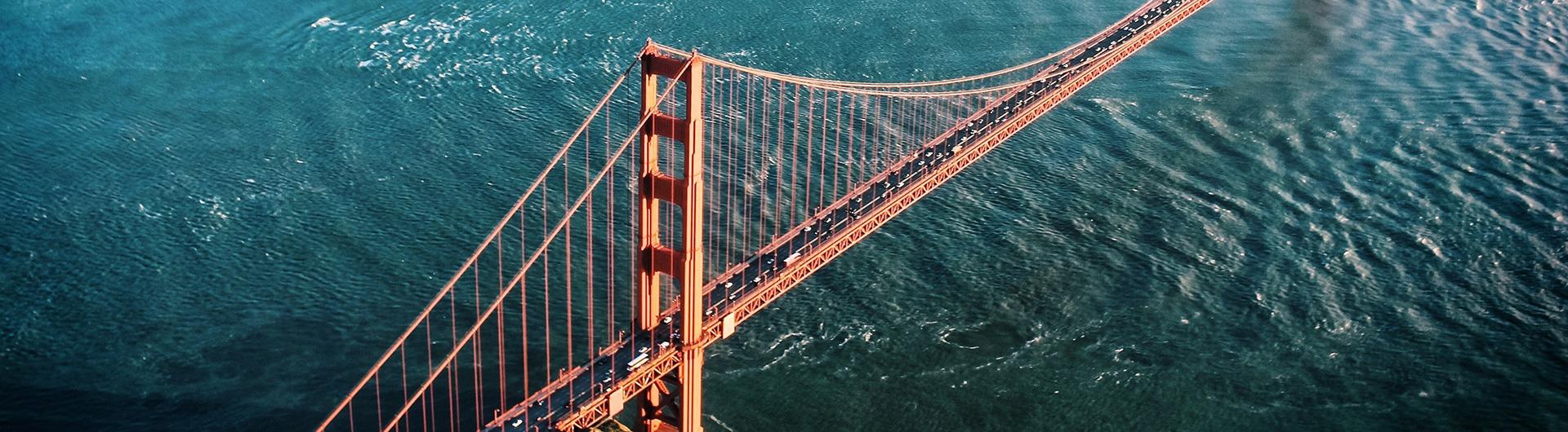 Aerial of the Golden Gate Bridge in San Francisco, California