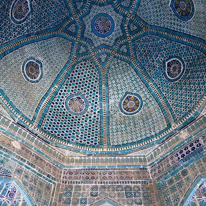 Tilework in the dome of the Gur-e-Amir mausoleum in Samarkand, Uzbekistan