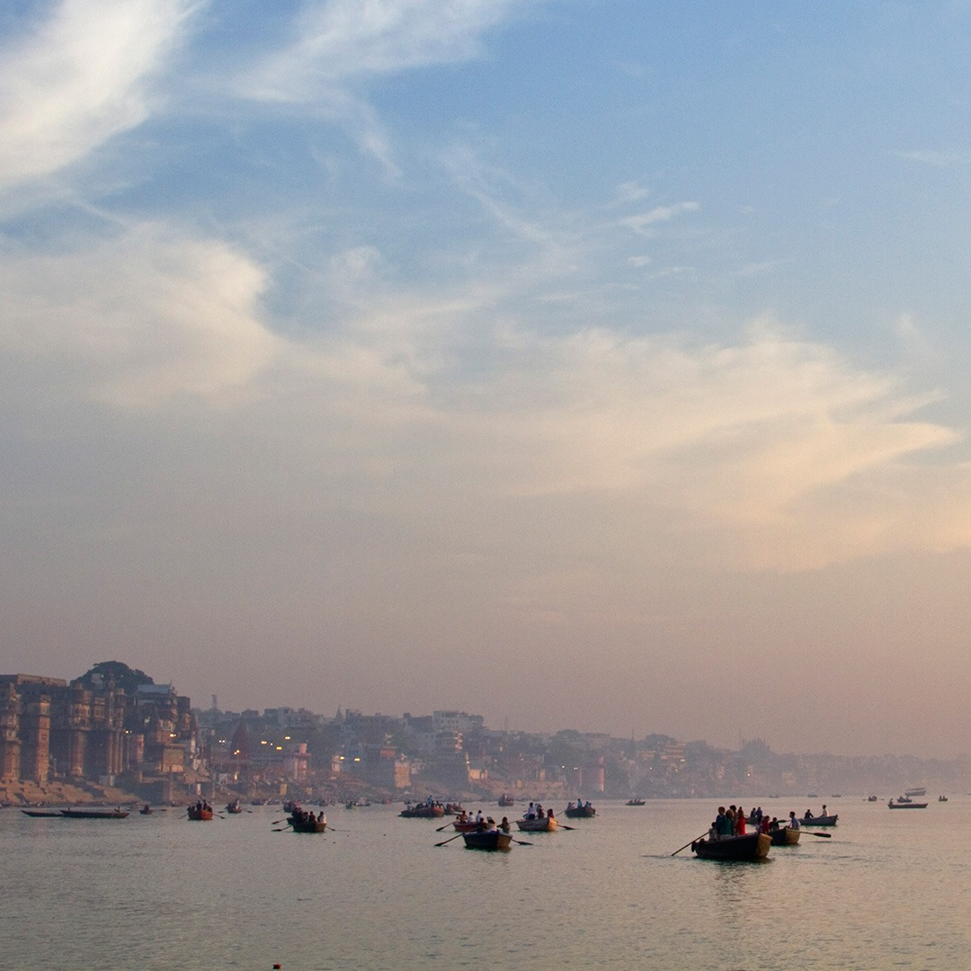 Boats on the Ganges River in the early morning, Varanasi, India