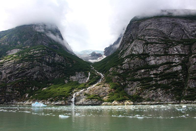 Glacial waterfalls in Glacier Bay, Alaska