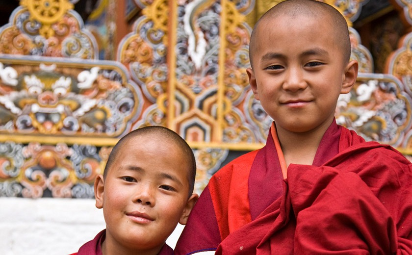 Young monks in Punakha, Bhutan