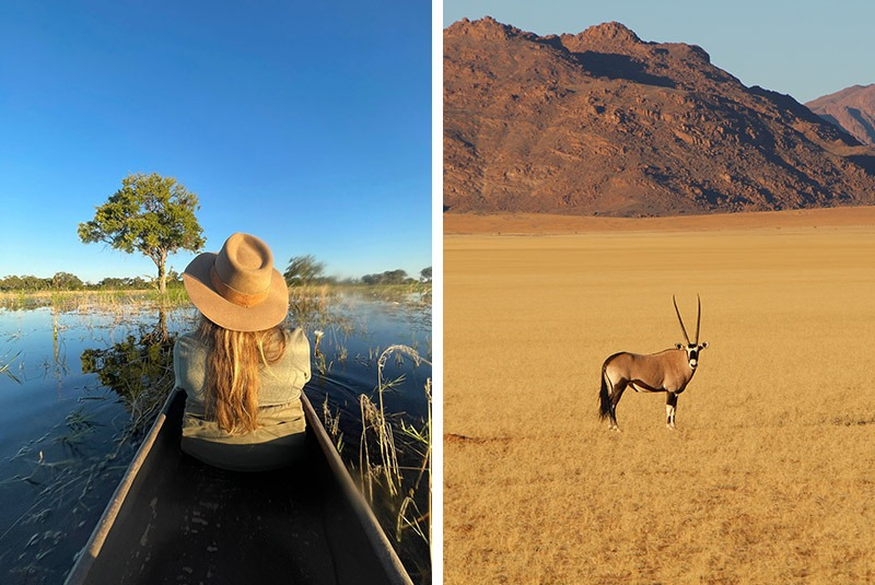 GeoEx staff member Kim Keating exploring Botswana and Namibia