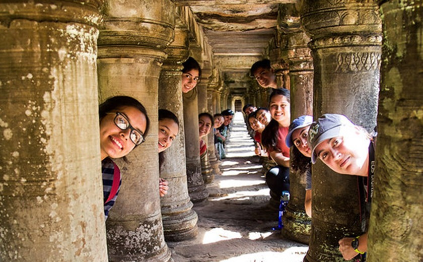 Learning AFAR students exploring ruins in Cambodia