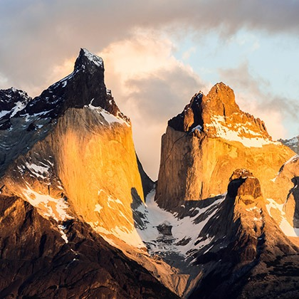 Sunlight on the peaks of Torres del Paine, Patagonia, Chile