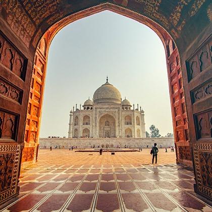 Entering through the front gate at the Taj Mahal, Agra, India