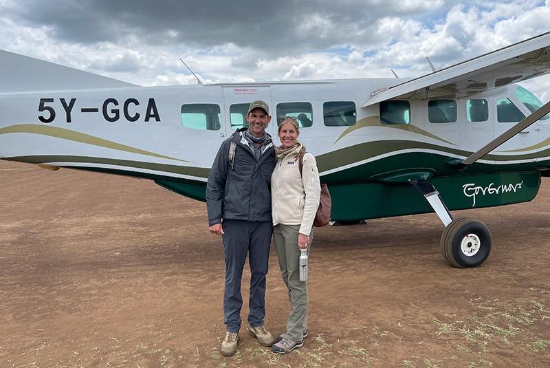 GeoEx honeymooners on a bush plane to Little Governors' Camp in the Mara, Kenya