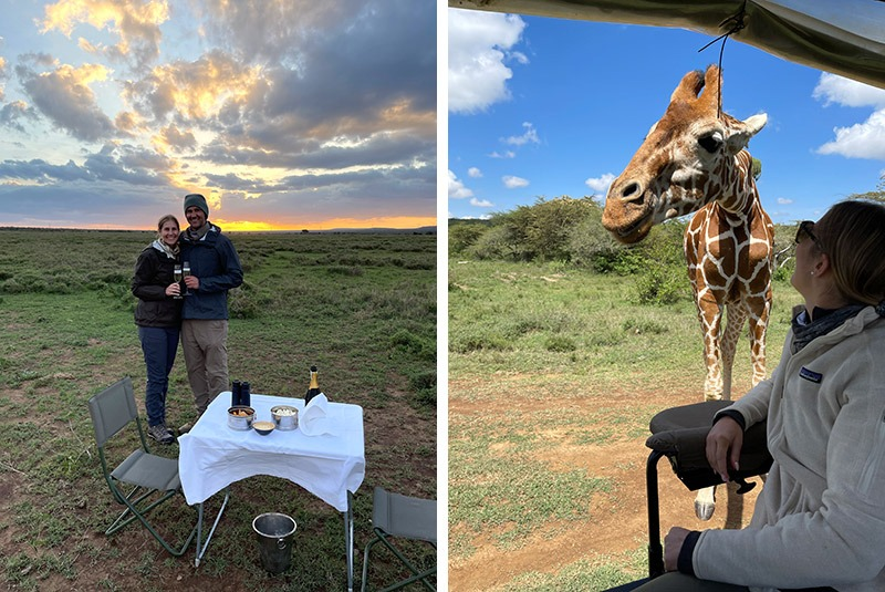 Sundowners and giraffe sightings in Kenya