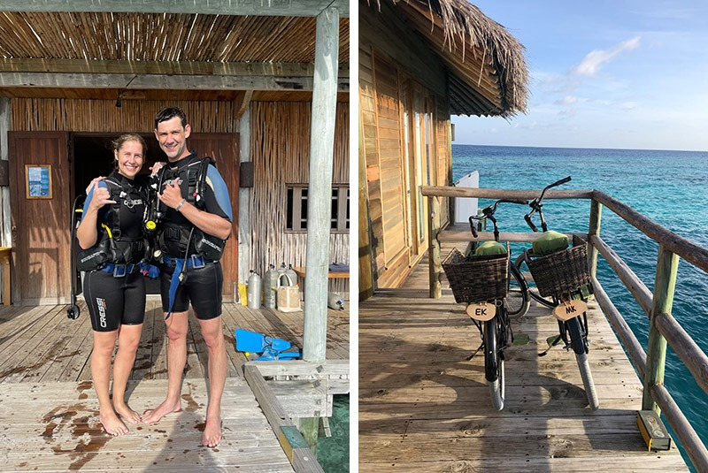 GeoEx honeymooners on a discovery scuba dive in the Maldives