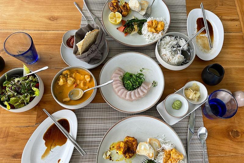 Freshly caught wahoo prepared three ways in the Maldives