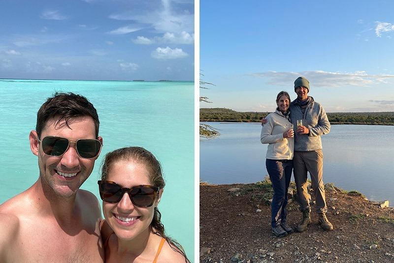 Happy GeoEx guests honeymooning in the Maldives and Kenya